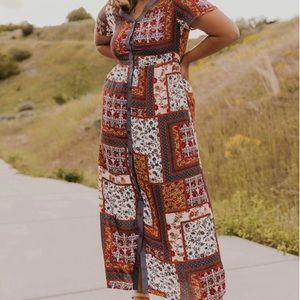 NWT Roolee patchwork maxi dress